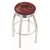 L8C3C - Chrome Texas State Swivel Bar Stool with 2.5 Ribbed Accent Ring by Holland Bar Stool Company
