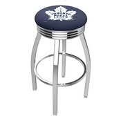 L8C3C - Chrome Toronto Maple Leafs Swivel Bar Stool with 2.5 Ribbed Accent Ring by Holland Bar Stool Company