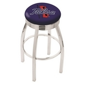 L8C3C - Chrome Tulsa Swivel Bar Stool with 2.5 Ribbed Accent Ring by Holland Bar Stool Company