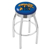 L8C3C - Chrome Kentucky Wildcat Swivel Bar Stool with 2.5 Ribbed Accent Ring by Holland Bar Stool Company