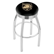 L8C3C - Chrome US Military Academy (ARMY) Swivel Bar Stool with 2.5 Ribbed Accent Ring by Holland Bar Stool Company
