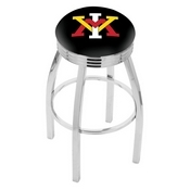 L8C3C - Chrome Virginia Military Institute Swivel Bar Stool with 2.5 Ribbed Accent Ring by Holland Bar Stool Company