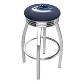 L8C3C - Chrome Vancouver Canucks Swivel Bar Stool with 2.5 Ribbed Accent Ring by Holland Bar Stool Company