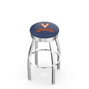 L8C3C - Chrome Virginia Swivel Bar Stool with 2.5 Ribbed Accent Ring by Holland Bar Stool Company