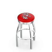L8C3C - Chrome Wisconsin Badger Swivel Bar Stool with 2.5 Ribbed Accent Ring by Holland Bar Stool Company