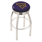 L8C3C - Chrome West Virginia Swivel Bar Stool with 2.5 Ribbed Accent Ring by Holland Bar Stool Company