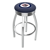 L8C3C - Chrome Winnipeg Jets Swivel Bar Stool with 2.5 Ribbed Accent Ring by Holland Bar Stool Company