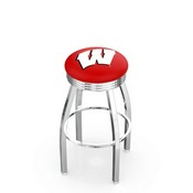 L8C3C - Chrome Wisconsin W Swivel Bar Stool with 2.5 Ribbed Accent Ring by Holland Bar Stool Company
