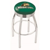 L8C3C - Chrome Wright State Swivel Bar Stool with 2.5 Ribbed Accent Ring by Holland Bar Stool Company