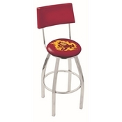 L8C4 - Chrome Arizona State Swivel Bar Stool with a Back and Sparky Logo by Holland Bar Stool Company