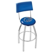 L8C4 - Chrome Boise State Swivel Bar Stool with a Back by Holland Bar Stool Company