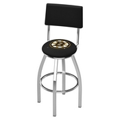 L8C4 - Chrome Boston Bruins Swivel Bar Stool with a Back by Holland Bar Stool Company