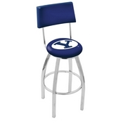 L8C4 - Chrome Brigham Young Swivel Bar Stool with a Back by Holland Bar Stool Company