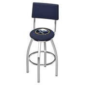 L8C4 - Chrome Buffalo Sabres Swivel Bar Stool with a Back by Holland Bar Stool Company