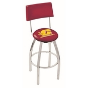 L8C4 - Chrome Central Michigan Swivel Bar Stool with a Back by Holland Bar Stool Company