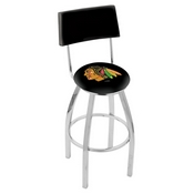 L8C4 - Chrome Chicago Blackhawks Swivel Bar Stool with a Back by Holland Bar Stool Company