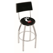 L8C4 - Chrome Cincinnati Swivel Bar Stool with a Back by Holland Bar Stool Company
