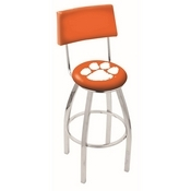 L8C4 - Chrome Clemson Swivel Bar Stool with a Back by Holland Bar Stool Company