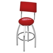 L8C4 - Chrome Detroit Red Wings Swivel Bar Stool with a Back by Holland Bar Stool Company