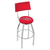 L8C4 - Chrome University of Dayton Swivel Bar Stool with a Back by Holland Bar Stool Company