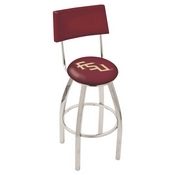 L8C4 - Chrome Florida State (Script) Swivel Bar Stool with a Back by Holland Bar Stool Company