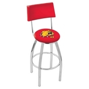 L8C4 - Chrome Ferris State Swivel Bar Stool with a Back by Holland Bar Stool Company