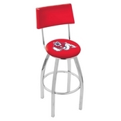 L8C4 - Chrome Fresno State Swivel Bar Stool with a Back by Holland Bar Stool Company