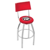 L8C4 - Chrome Georgia Bulldog Swivel Bar Stool with a Back by Holland Bar Stool Company