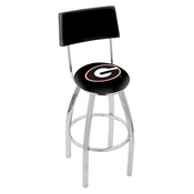 L8C4 - Chrome Georgia G Swivel Bar Stool with a Back by Holland Bar Stool Company