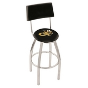 L8C4 - Chrome Georgia Tech Swivel Bar Stool with a Back by Holland Bar Stool Company