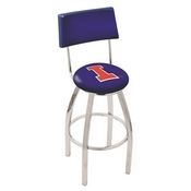 L8C4 - Chrome Illinois Swivel Bar Stool with a Back by Holland Bar Stool Company