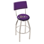 L8C4 - Chrome James Madison Swivel Bar Stool with a Back by Holland Bar Stool Company