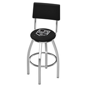 L8C4 - Chrome Los Angeles Kings Swivel Bar Stool with a Back by Holland Bar Stool Company
