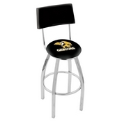 L8C4 - Chrome Missouri Western State Swivel Bar Stool with a Back by Holland Bar Stool Company