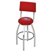 L8C4 - Chrome Montreal Canadiens Swivel Bar Stool with a Back by Holland Bar Stool Company