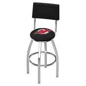 L8C4 - Chrome New Jersey Devils Swivel Bar Stool with a Back by Holland Bar Stool Company