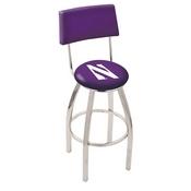 L8C4 - Chrome Northwestern Swivel Bar Stool with a Back by Holland Bar Stool Company