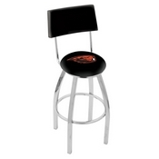 L8C4 - Chrome Oregon State Swivel Bar Stool with a Back by Holland Bar Stool Company