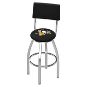 L8C4 - Chrome Pittsburgh Penguins Swivel Bar Stool with a Back by Holland Bar Stool Company