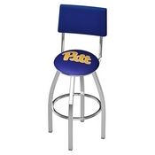 L8C4 - Chrome Pitt Swivel Bar Stool with a Back by Holland Bar Stool Company