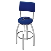 L8C4 - Chrome St Louis Blues Swivel Bar Stool with a Back by Holland Bar Stool Company