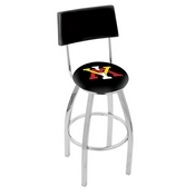 L8C4 - Chrome Virginia Military Institute Swivel Bar Stool with a Back by Holland Bar Stool Company