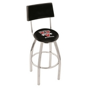 L8C4 - Chrome Valdosta State Swivel Bar Stool with a Back by Holland Bar Stool Company