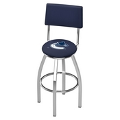 L8C4 - Chrome Vancouver Canucks Swivel Bar Stool with a Back by Holland Bar Stool Company