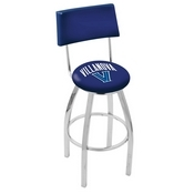 L8C4 - Chrome Villanova Swivel Bar Stool with a Back by Holland Bar Stool Company