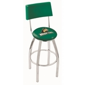 L8C4 - Chrome Wright State Swivel Bar Stool with a Back by Holland Bar Stool Company