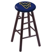 Stool with West Virginia Logo Seat by Holland Bar Stool Co.| Option| Design 1;Finish| Dark Cherry;Wood Frame| Maple;Height| 18inch Vanity Stool
