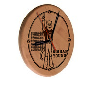 Brigham Young Laser Engraved Wood Clock by the Holland Bar Stool Co.