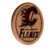 Calgary Flames Laser Engraved Wood Clock by the Holland Bar Stool Co.