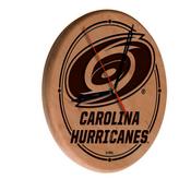 Carolina Hurricanes Laser Engraved Wood Clock by the Holland Bar Stool Co.